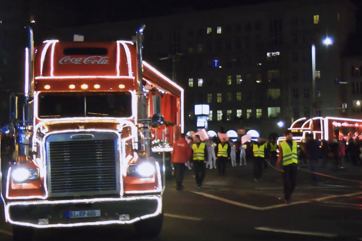 Coca Cola-Showtrucks in Leipzig